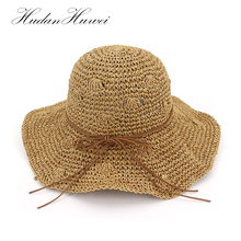 HUDANHUWEI 2018 New Straw Hat Summer Panama Beach Sun Hats for Women Chapeu  Feminino 7b28ecd965d7