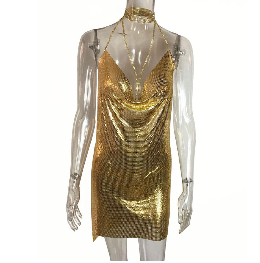 GACVGA 17 Sexy Diamond Halter Metal Party Dresses Gold Silver Summer Dress Vesitos Backless Sequins Women Dress 11