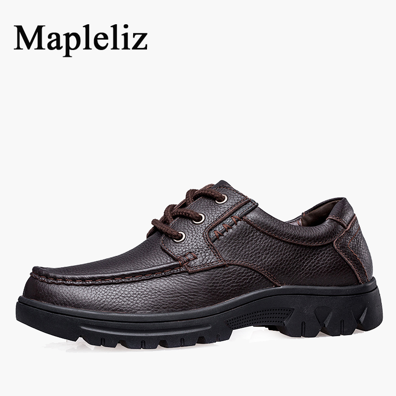 Mapleliz Brand Lace-Up Solid Fashion Casual Men Shoes Full Grain Leather High Quality Breathable Driving Men Shoes For Men 2016 triangle rivets decoration full grain leather casual shoes eu luminescent substrate high shoes lace up couple models white