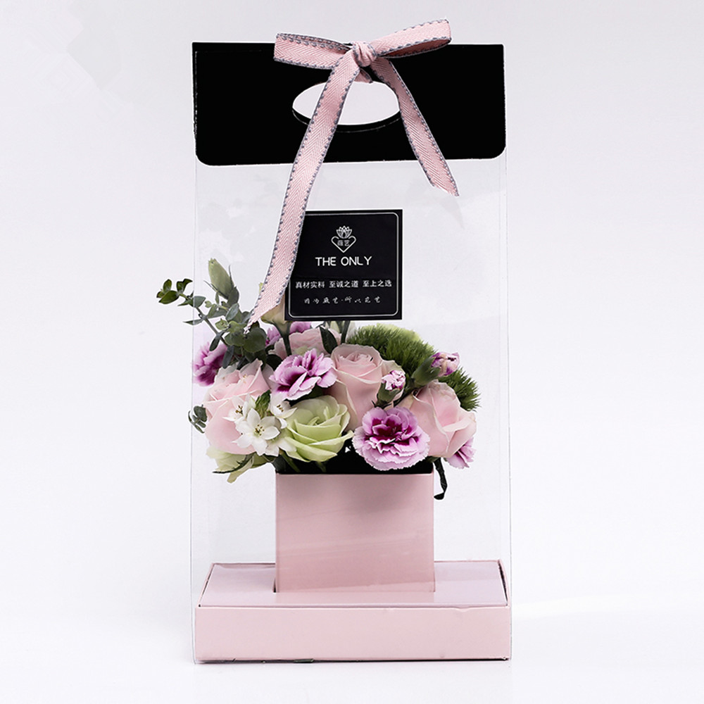 Clear Flower Packaging Bag Handled Florist Bouquet Gift Paper Boxes for Wedding Valentin ...