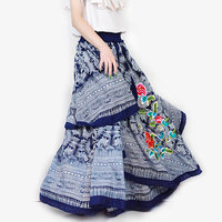 Autumn And Winter Vintage Casual Novel Asymmetrical Embroidered Flower Denim Female Long Skirt / Jeans Maxi Skirts for Womens