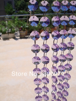 Free shipping 20 Meters/lot,purple color14mm octagonal beads/crystal garland strand for home & wedding,party decoration supplies