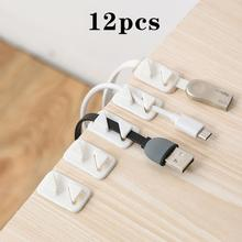 12pcs Universal Wire Tie Self-adhesive Rectangle Cord Management Winder Cable Holder Organizer Mount Clip Clamp 20pcs car cable winder fastener charger line clasp wire cord clip tie fixer organizer desk wall clamp holder management adhesive