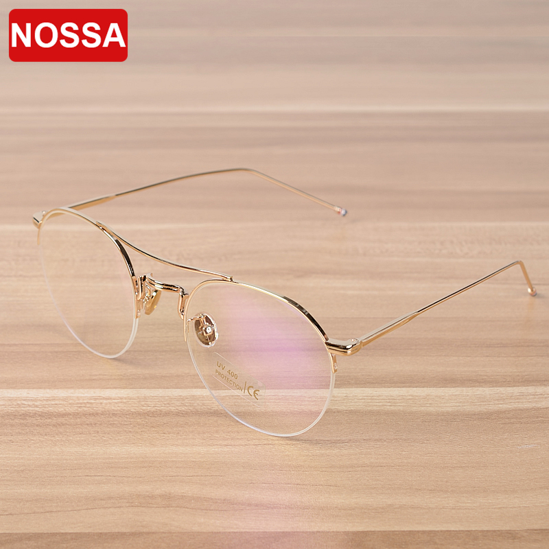 NOSSA Excellent Semi Rim Mens Womens Metal Eyeglasses Luxury Glasses Frame Elegant Spectacles Prescription Frames Goggles
