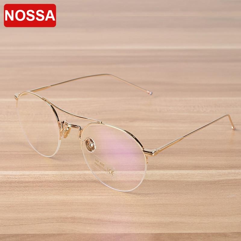 NOSSA Εξαιρετική Semi Rim Mens Γυναικεία γυαλιά από μέταλλο Πολυτελή γυαλιά Πλαίσιο Κομψά γυαλιά συνταγών Κορνίζες γυαλιά