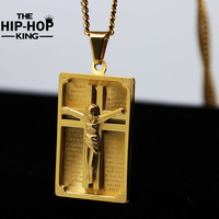 Fashion 18K Gold Plated Crucifix Jesus Cross Pendant Necklace Iced Out Hip Hop Stainless Steel Necklace