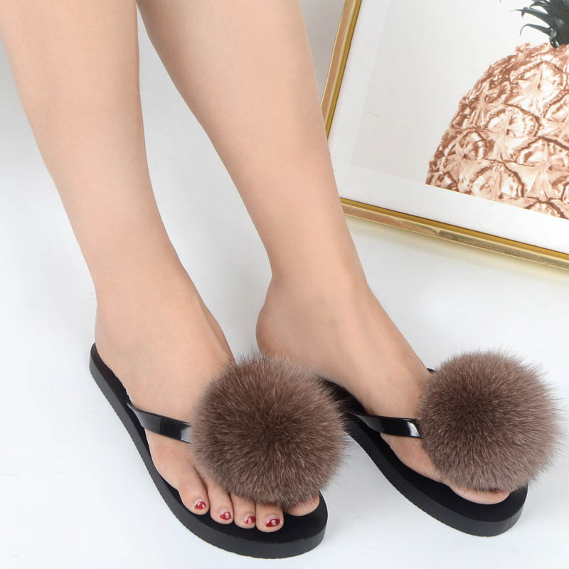 women slippers fox fur pompom (20)