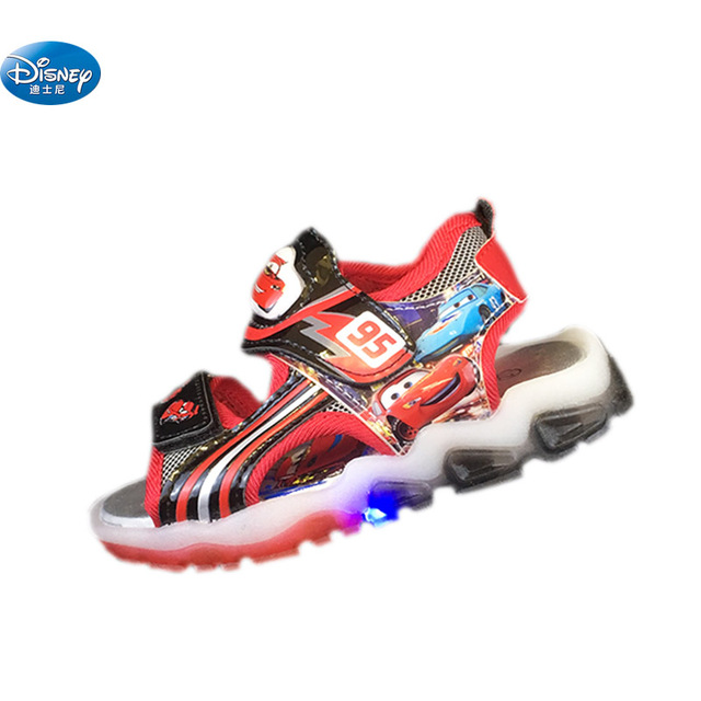 7e3b6906da8a Disney kids Cars sandals 2018 with LED light McQueen Cartoon shoes Summer  children pu sport Beach shoes Europe size 26- 31