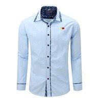 New 2018 Collar Print Design Men S Shirts Long Sleeve Cotton Casual Man Shirt Blue Color