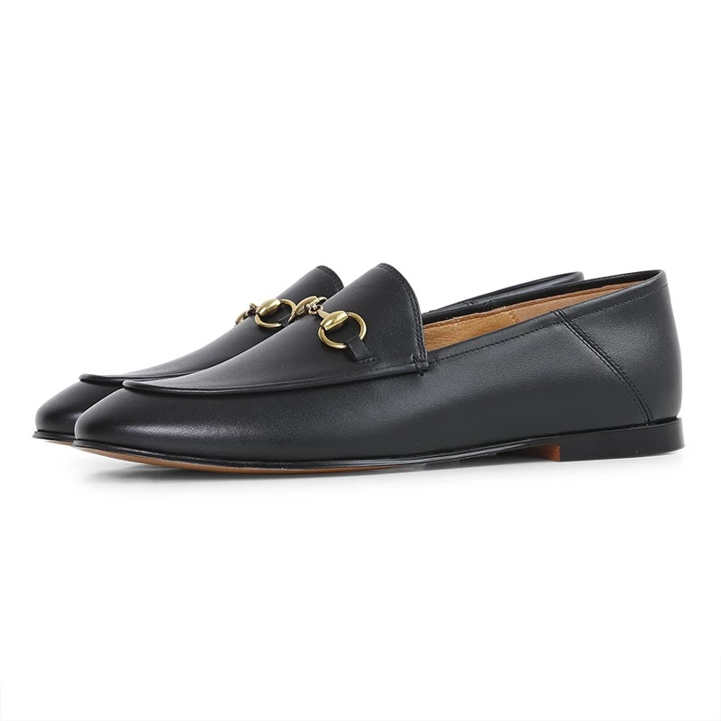 High Quality 2 Colors Flat Genuine Leather Mules Women Loafers Four Seasons Shoes with Metal Chain
