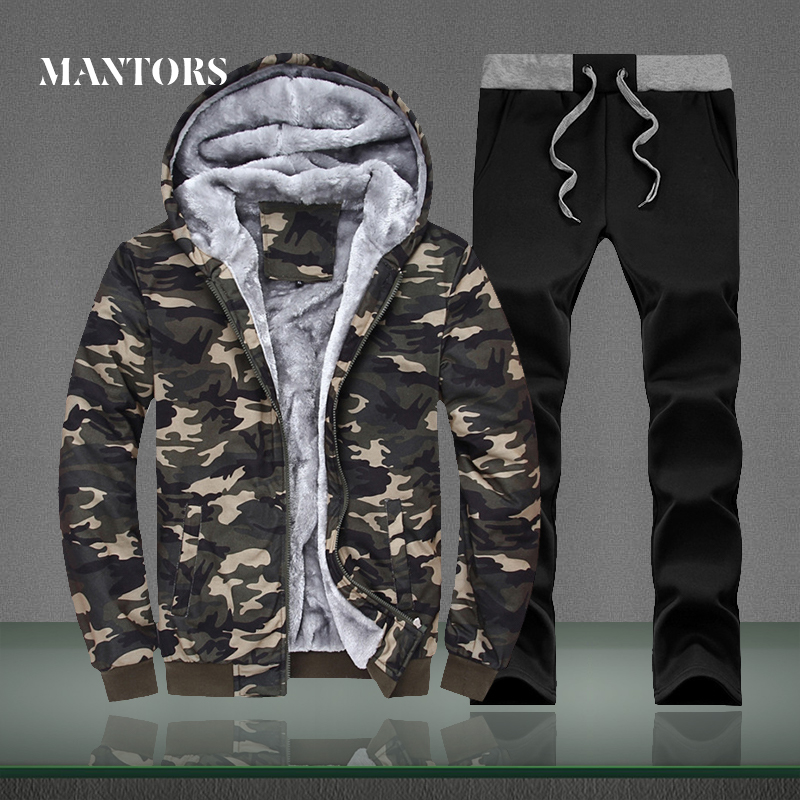 Winter Warm Set Men Hooded Tracksuits 2018 Casual Male Camouflage Fleece Outwear 2 Pieces Sporting Sets Men's Sportswear Suits