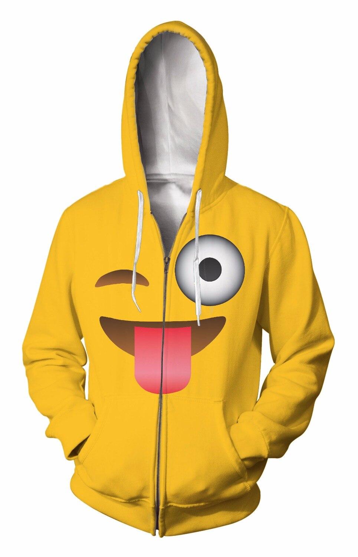 Zip-Up Hoodie 3d Print Soft Expression Clothing Women Men Tops Hooded Casual Zipper Sweatshirts Outfits Coats Sweats factory
