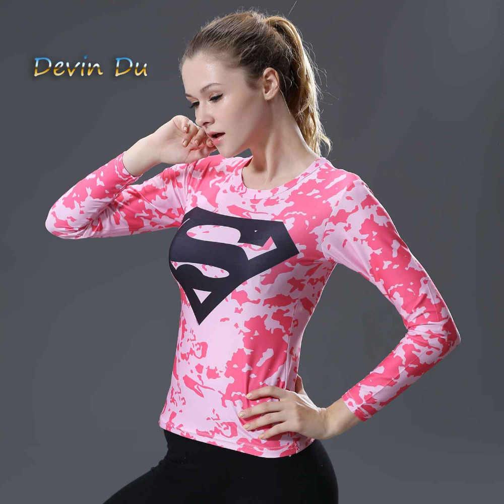 Kadın T-shirt vücut kostüm superman/batman T Shirt uzun kollu kız spor tayt sıkıştırma tişörtleri
