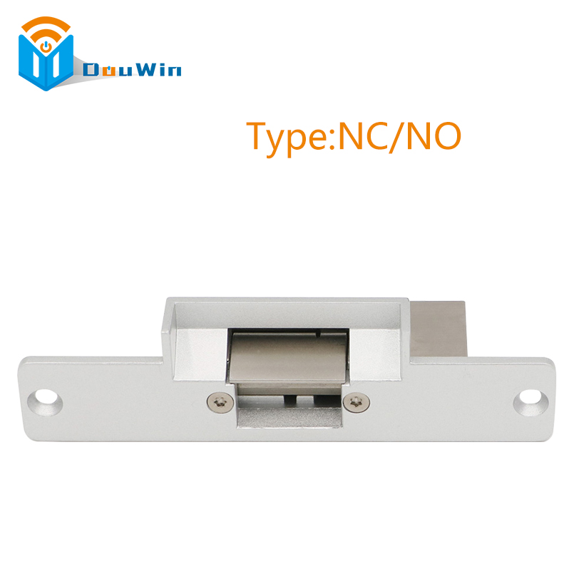 Electric Strike Lock Door For RFID Electric Access Control sytem Aluminum face plate, type NC/NO fail safe 12VDC DouWin long type panel dual port electric strike lock cathode lock for access control no nc fail secure fail safe
