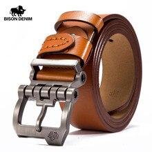 بيسون الدنيم العلامة التجارية حزام للرجال البقر جلد طبيعي دبوس مشبك عالية الجودة حزام الذكور الجينز خمر N71223