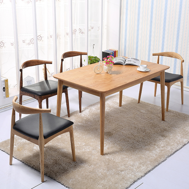 503bb79666 Solid wood dining tables and chairs combination of modern Scandinavian IKEA dining  table small family -