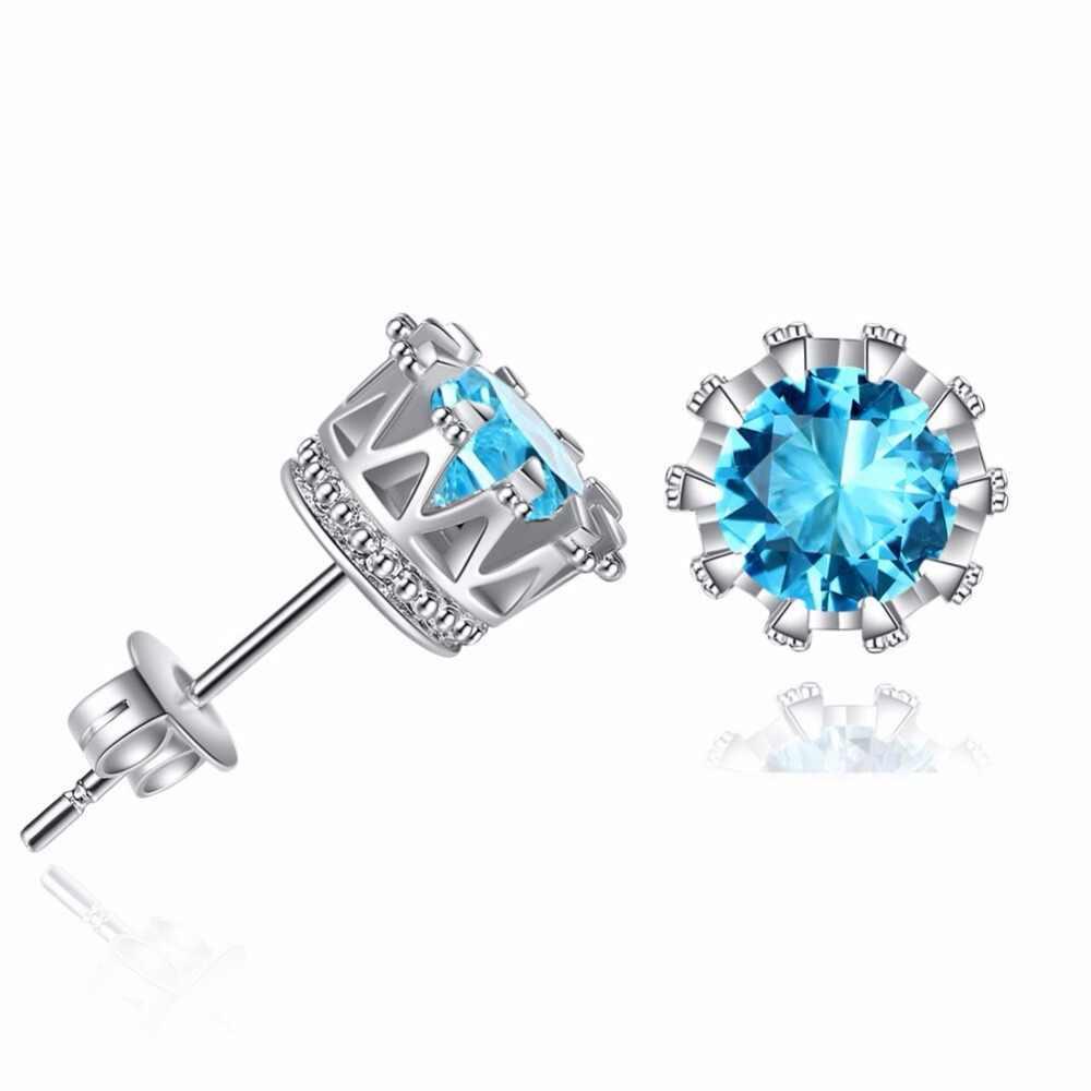 Offre spéciale couleur argent et couleur or Zircon couronne boucles d'oreilles femmes mode fête bijoux cadeaux de mariage bas prix brincos