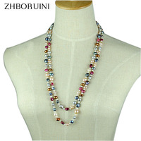 ZHBORUINI Long Multilayer Pearl Necklace Freshwater Pearl Choker Charm Irregular Mix Colour Pearl Necklace Jewelry For Women