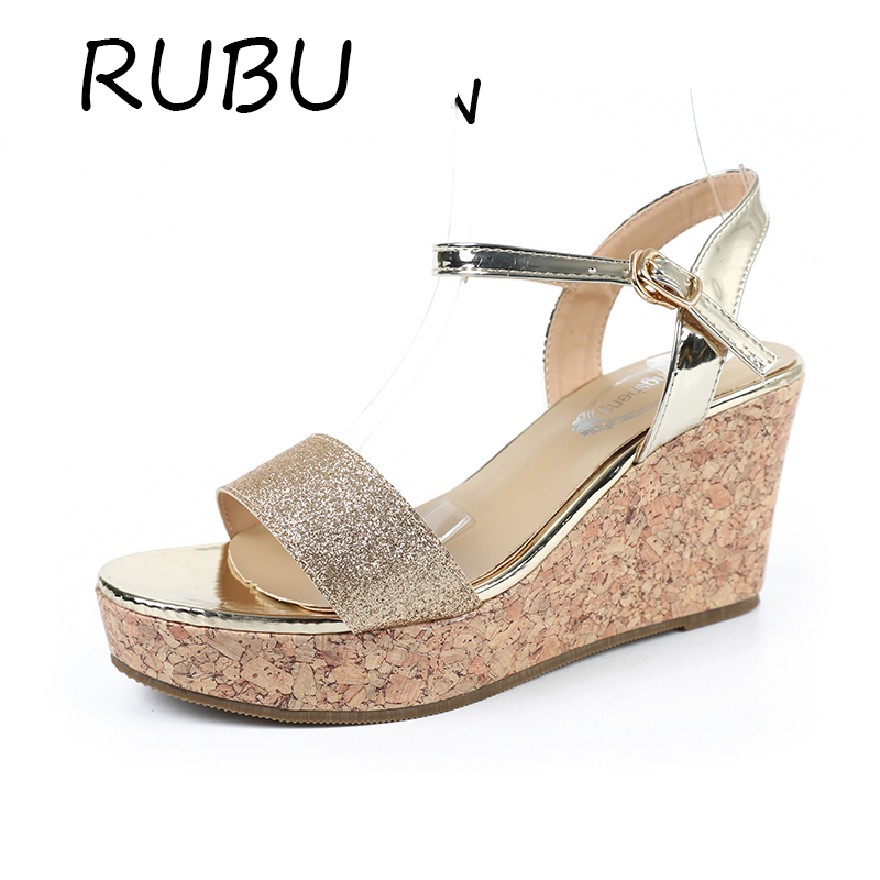 2017Summer Wedge Sandals Women High Heel One-Buckle Belt Bling Shoes Woman Casual Platform Sandal Strap Gold Blue Clog Chaussure phyanic 2017 gladiator sandals gold silver shoes woman summer platform wedges glitters creepers casual women shoes phy3323