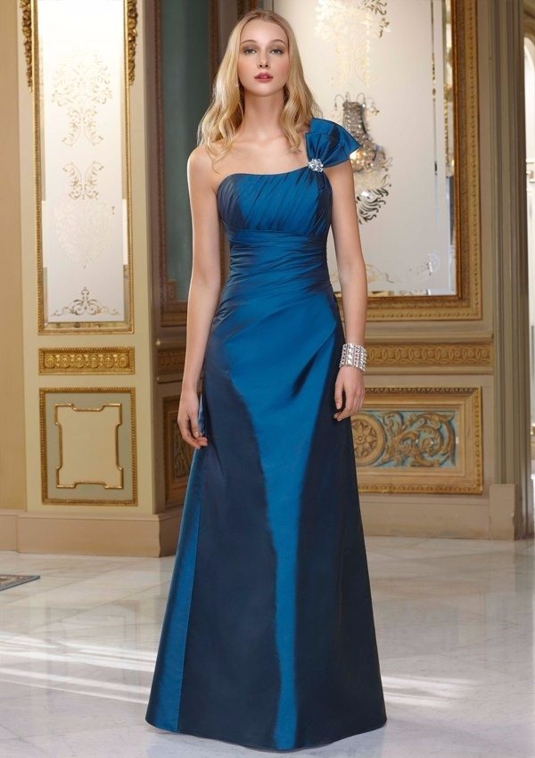 Hot Seller Empire elegant navy blue long One Shoulder Floor Length Sleeveless Beading Tffeta Western Bridesmaid Dresses 1
