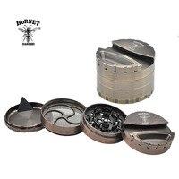 [HORNE]1 X Heavy Zinc Alloy Hornet Grinder Dia.80MM 4 Parts Tobacco Grinder Herb/Spice Crusher Grinder With Paper holder Storage