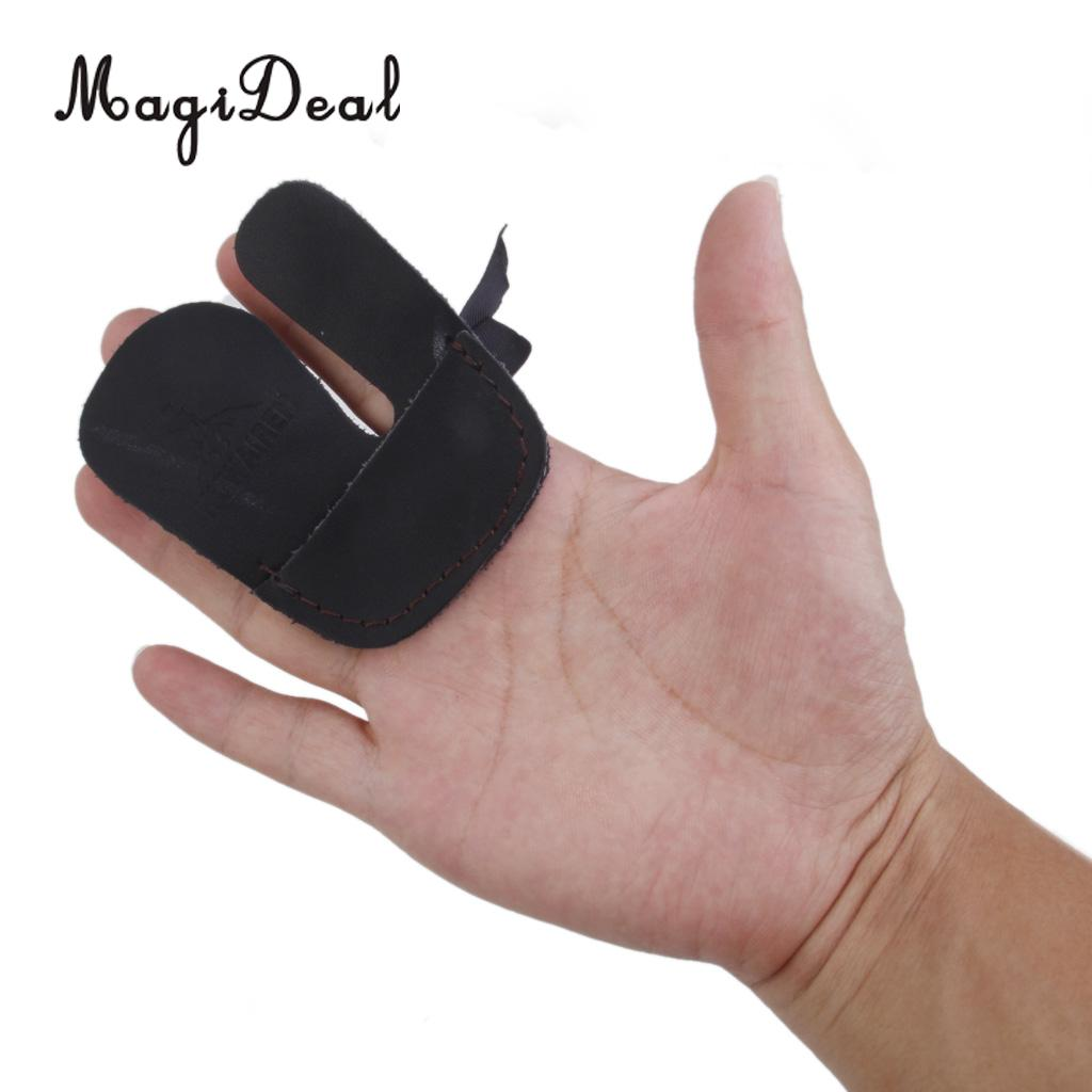 Cow Leather Protection Finger Tab Guard Shooting Bow Archery Glove Black Brown