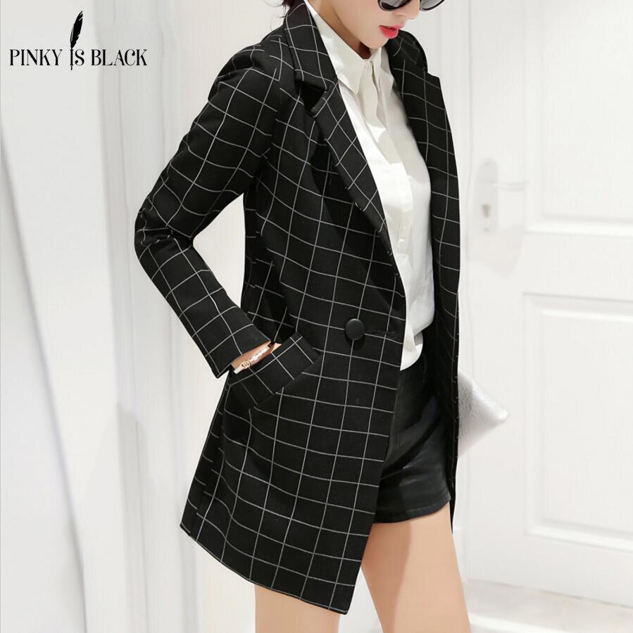 Мизинец blackfemale блейзер 2017 весной и осенью новый пиджак куртка женщин тонкий средней длины плед с длинными рукавами casual спортивный костюм blazer