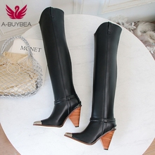 New Over The Knee Boots Women Pointed Toe Genuine Leather Boots Elegant Ladies Prom Autumn Winter Boots High Heels Size 34-43