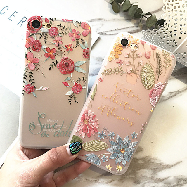 KISSCASE Cases For iPhone 5S 5 SE X XS Max Cover 3D Relief Floral Embossed TPU Silicon Shell For iPhone 6S 6 7 8 Plus XR Cases