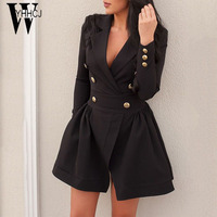 WYHHCJ 2017 Vestido Sexy Autumn Winter Dress Deep V Neck Button Solid Women Dress Long Sleeve