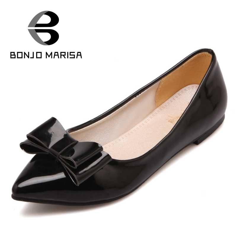 BONJOMARISA Bowtie Knot Women Flats Sexy Pointed Toe Slip On Comfortable Insole Leisure Shoes Big Size 30-43 Beige Red Black enmayer pointed toe summer shallow flats slip on luxury brand shoes women plus size 35 46 beige black flats shoe womens