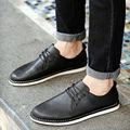 2016 Men Flats Shoes PU Leather Casual British Style Lace up Brown Black Males Brogues Dress Shoes Mens Oxfords leather shoes