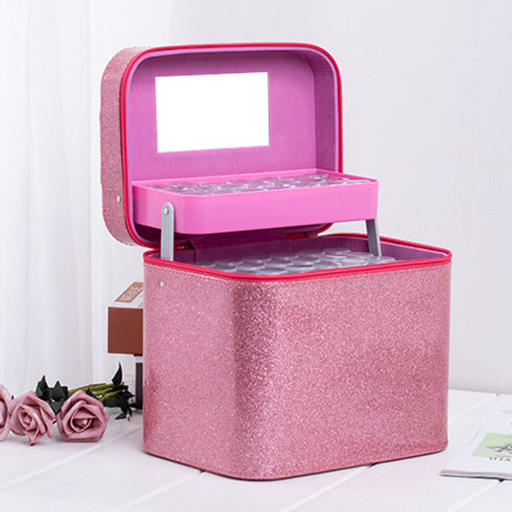126 Bottle Display Exquisite Accessory Beads PU Durable Zipper Storage Box Solid Handbag Non Toxic Diamond