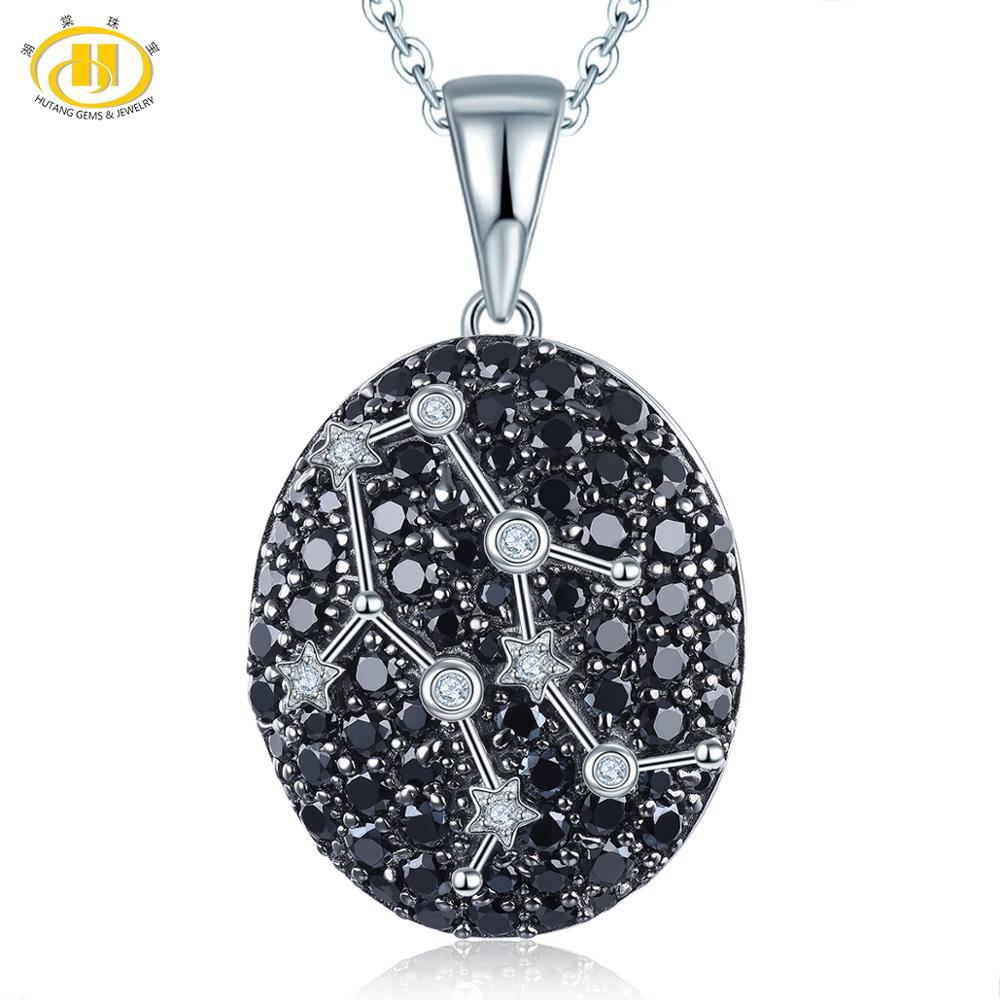 Hutang Gemini Constellation Pendant Gemstone Black Spinel 925 Silver Necklace for Womens Birthday Gift 21th May Until 21th JuneHutang Gemini Constellation Pendant Gemstone Black Spinel 925 Silver Necklace for Womens Birthday Gift 21th May Until 21th June