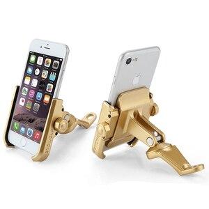 Image 3 - Haute qualité robuste en alliage daluminium rétroviseur Support de téléphone pour Moto Moto Support de Support Support pour iPhone12 GPS