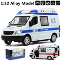 Ambulance, police car,1:32 alloy pull back cars,Diecast metal SUV music car,Children's Boxed gift,free shipping