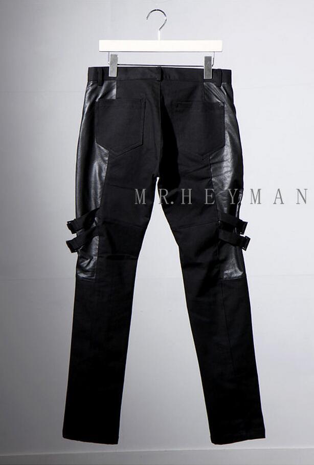 Vêtements Couture Skinny 44 De Chanteur Plus Casual Bandage Taille Nouveaux 2017 Noir 27 Personnalité Costumes Pantalon Pu La Hommes Mâle Mode wAqaXax6