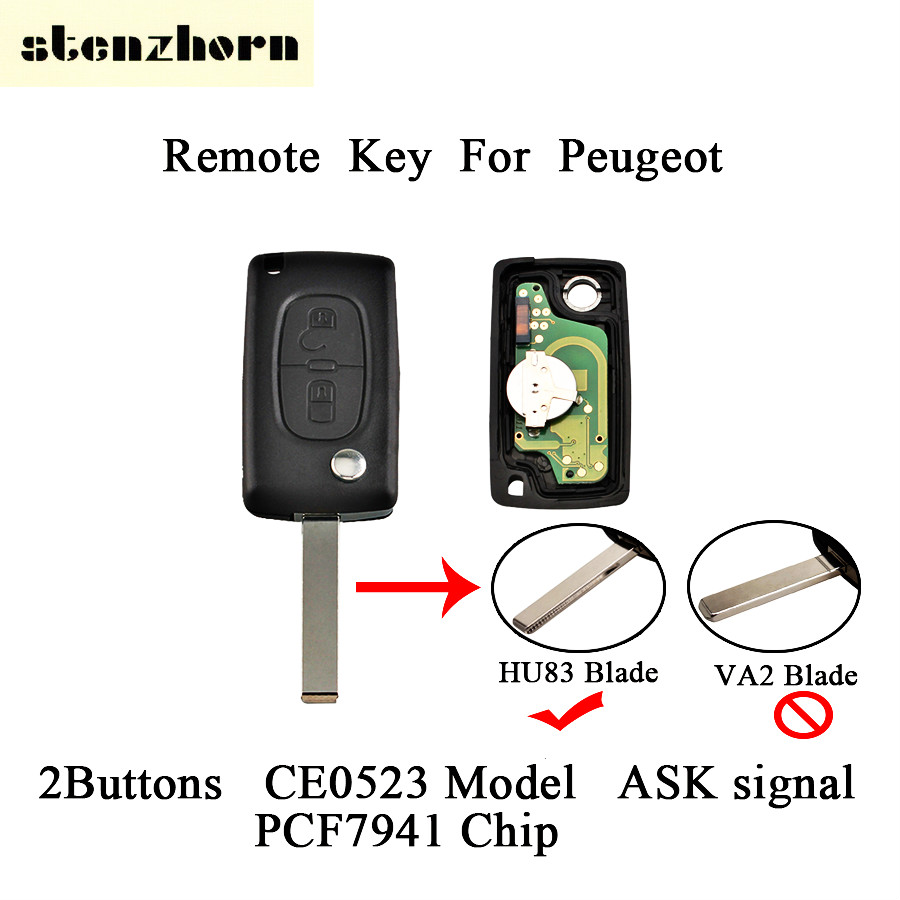 Stenzhorn 2Pcs*2Buttons Flip Remote Car Key For Peugeot 207 307 308 407 807 Expert Partner CC SW Original Key HU83 Blade CE0523