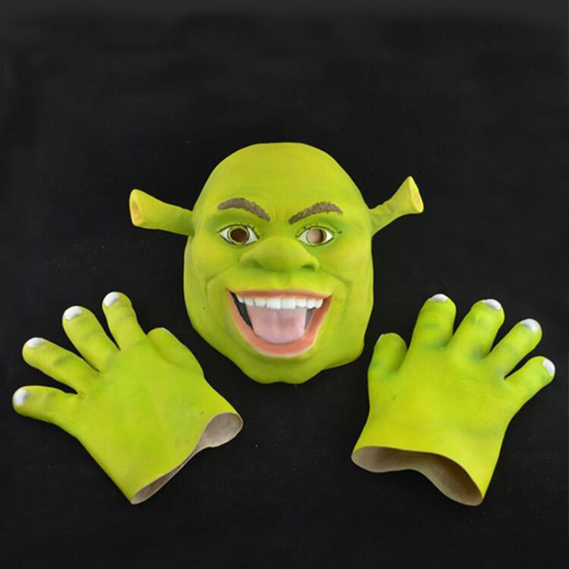 Movie Character Full Head Latex Masks Green Shrek Cosplay Party Mask With Gloves Halloween Masquerade Cosplay Costumes Props