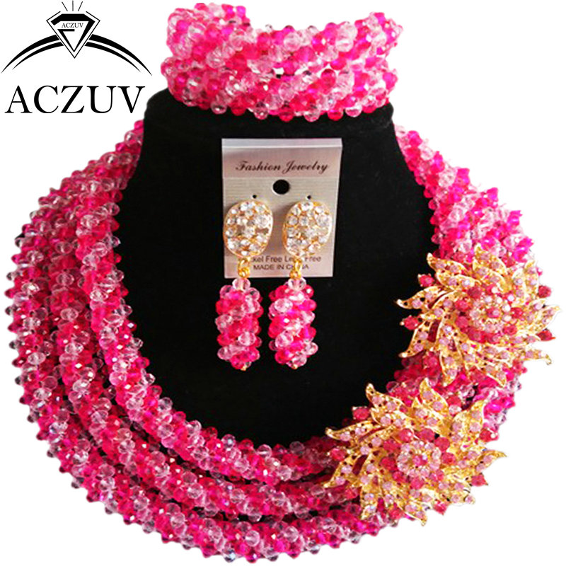 ACZUV Big Necklace and Earrings Bracelet Hot Pink Pink Crystal African Beads Jewelry Set Nigerian Wedding Accssories A3R019