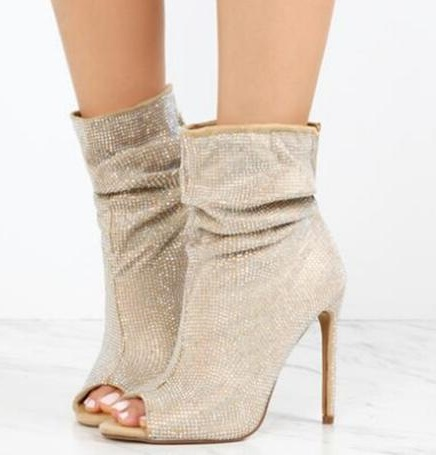 Frauen Stiefeletten Streifen Mit Bild Kleine Nieten Heels Mode Peep Stiefel Toe Reflektierenden Als Neueste Schuhe Sommer Leder High 0OmNnwv8