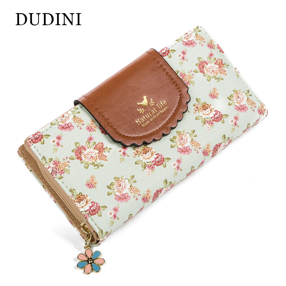 DUDINI New Flower Wallet Hot Women Wallets Fashion Portfolio Female Long Coin Purse Clutch Card Holder Girl Elegant Lady Wallets women leather wallets v letter design long clutches coin purse card holder female fashion clutch wallet bolsos mujer brand