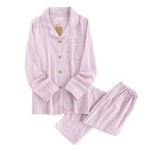Hot sale Yarn dyed 100% cotton Couples pajamas sets women and men sleepwear long sleeve Fresh soft exquisite pyjamas women
