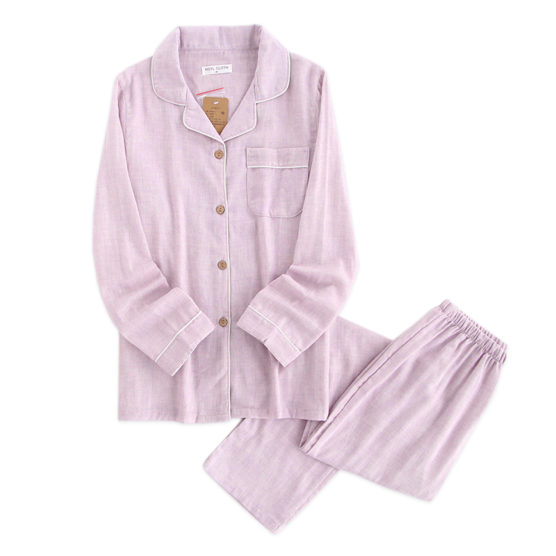 Pure color lovers 100% gauze cotton   pajamas     sets   women spring long sleeve Fresh 100% cotton pijama mujer casual pyjamas women