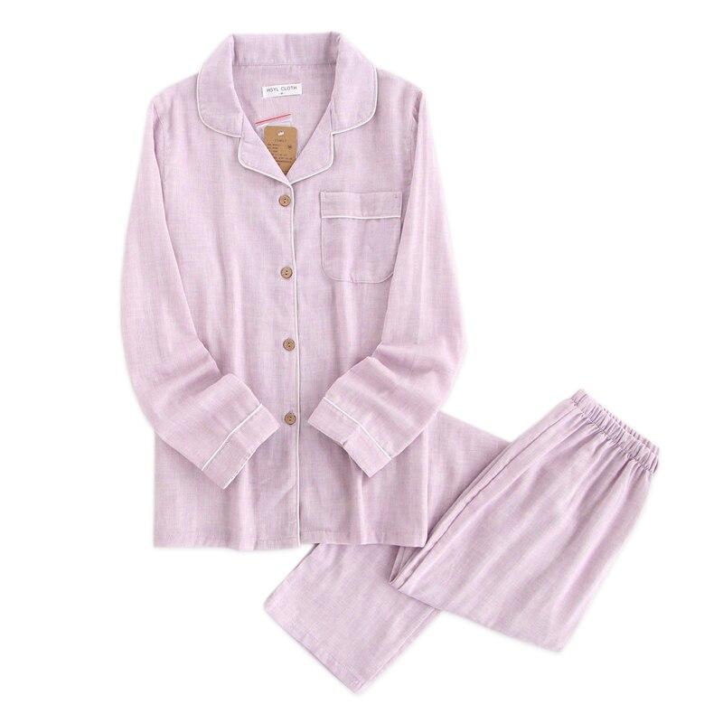 Quality Yarn-dyed 100% Gauze Cotton Couples Pajamas Sets Women And Men Sleepwear Long Sleeve Fresh Soft Exquisite Pyjamas Women