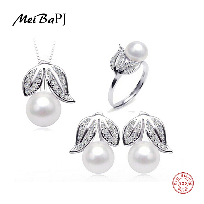 [MeiBaPJ]Amazing price 925 sterling silver jewelry 100% real natural freshwater pearl jewelry set for women crystal jewelry set sterling silver jewelry 100% 925 formal jewelry set natural freshwater pearl