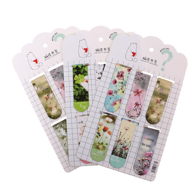 6 pcs/lot Cute Kawaii Flower Paper Bookmarks Creative  Magnetic Book Mark School Supplie