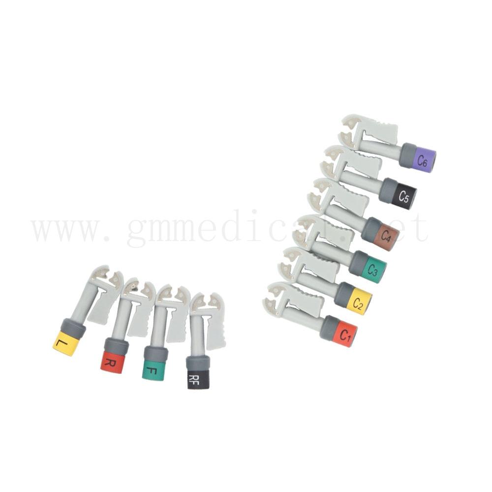 Jeux de connecteurs de câbles EKG, Grabber, AHA, 10 pièces/ensemble.