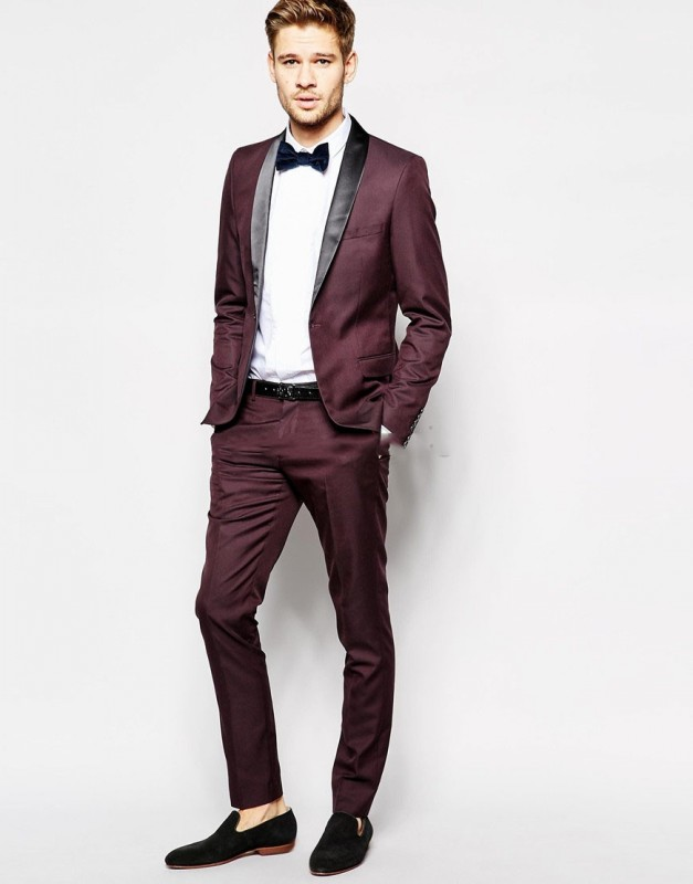 Hot Cheap 2018 (Jacket+Pants+tie) 2 Pieces Mens Suits Burgundy Best Men Suits Single Breasted Wedding Suit Groom Tuxedos