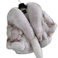 2019 autumn and winter fashion neckline fox fur coat trend personality lady fur poncho